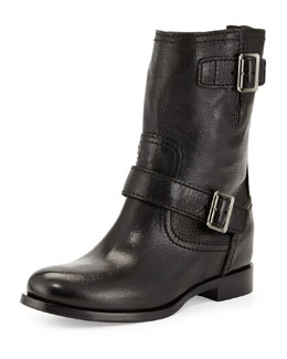 Prada Flat Double-Buckle Moto Boot, Black