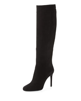 Prada High-Heel Suede Knee Boot, Black