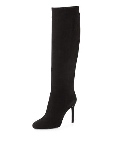 Prada High-Heel Suede Knee Boot, Black