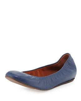 Lanvin Scrunched Leather Ballerina Flat, Midnight Blue