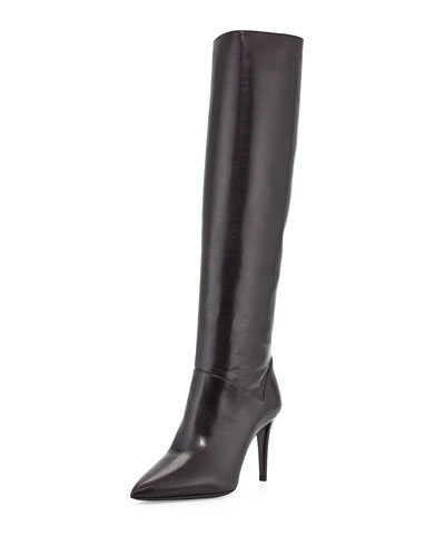 Prada Leather Pointed-Toe Knee Boot