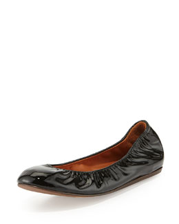 Lanvin Patent Leather Ballerina Flat, Black