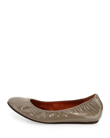Patent Leather Ballerina Flat, Gray
