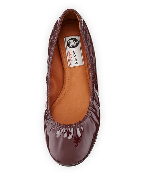 Patent Leather Ballerina Flat, Aubergine