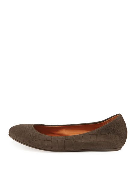 Croc-Embossed Scrunched Ballerina Flat, Dark Brown