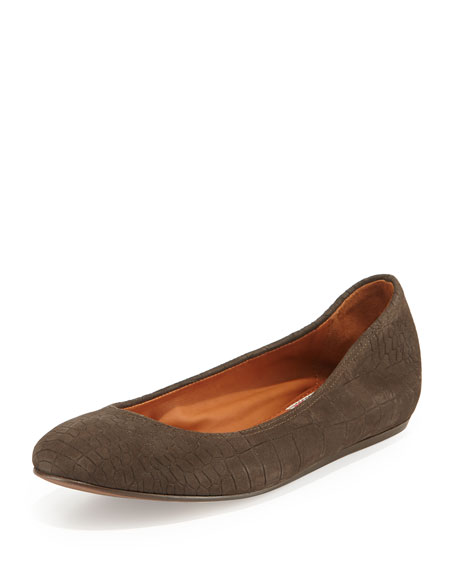 Croc-Embossed Scrunched Ballerina Flat, Dark Brown