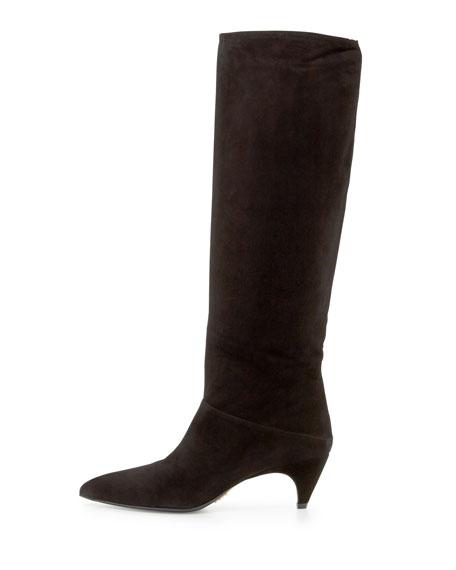 prada suede low heel knee boot black