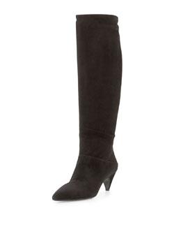 Prada Suede Low-Heel Knee Boot, Black