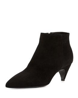 Prada Camoscio Suede Ankle Bootie, Black (Nero)