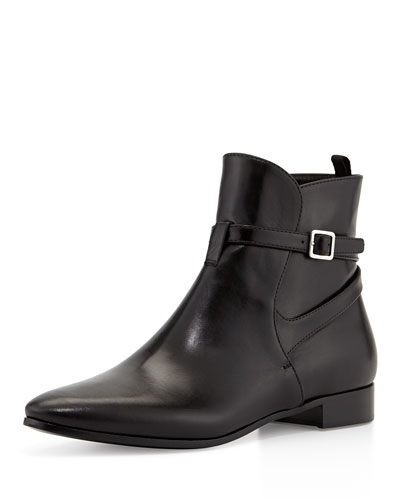 Prada Leather Boot with Ankle Strap, Black (Nero)