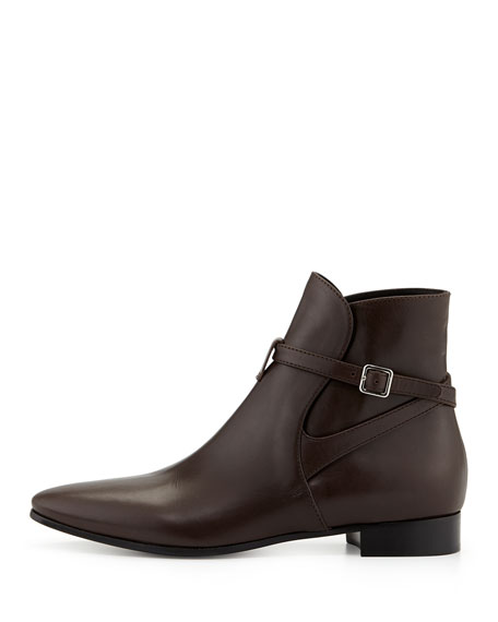 Leather Boot with Ankle Strap, Brown