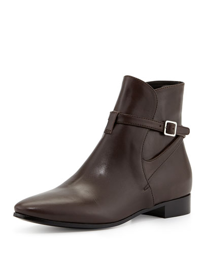 Prada Leather Boot with Ankle Strap, Brown