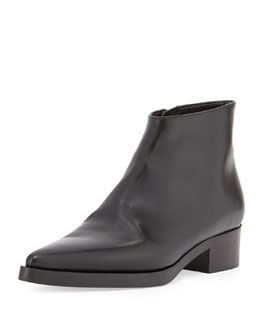 Stella McCartney Faux-Leather Point-Toe Ankle Bootie, Black