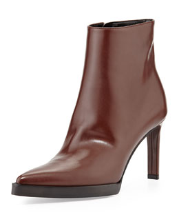 Stella McCartney Faux-Leather Point-Toe Ankle Boot, Brown