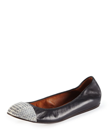 Snake-Toe Ballerina Flat, Black/Gray