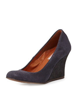 Lanvin Suede Ballerina Wedge Pump, Midnight Blue
