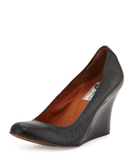 Lanvin Leather Ballerina Wedge Pump, Black