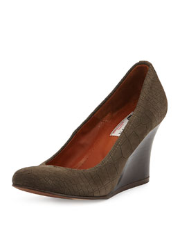 Lanvin Croc-Embossed Ballerina Wedge Pump, Gray