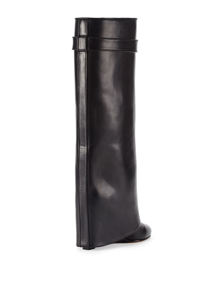 Shark Lock Fold-Over Leather Boot, Black