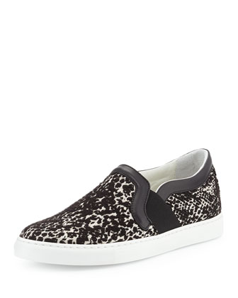 Lanvin Patterned Slip-On Sneaker, Black
