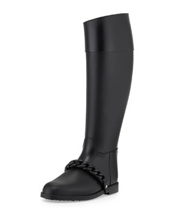 Givenchy Chain-Strap PVC Rain Boot, Black