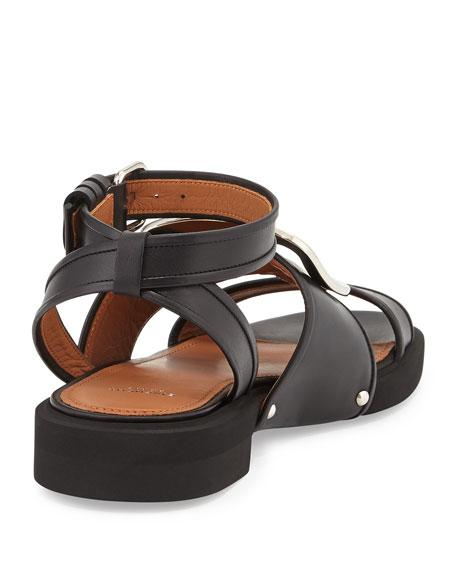 Buckle-Strap Leather Sandal, Black