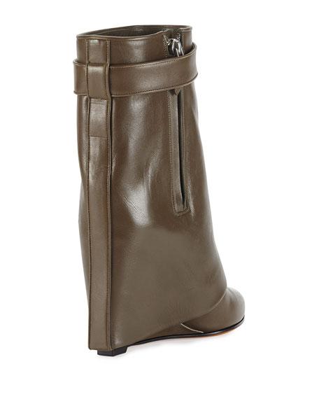 Leather Shark-Lock Ankle Bootie, Khaki