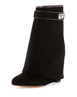 Givenchy Suede Shark-Lock Fold-Over Ankle Boot, Black
