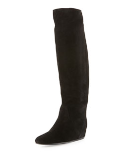 Lanvin Suede Hidden Wedge Knee Boot, Black