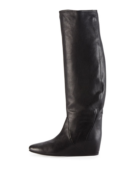 Leather Hidden Wedge Knee Boot, Black