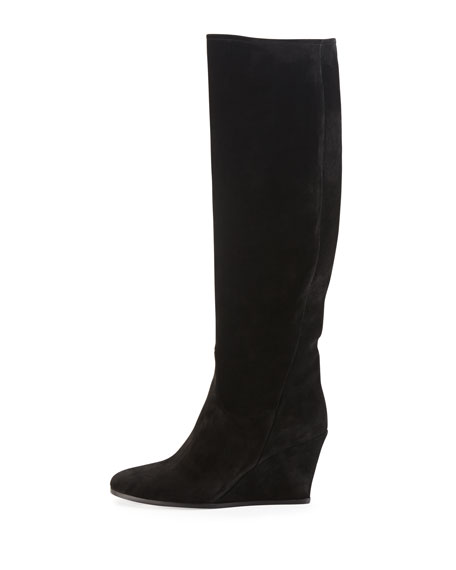 SUEDE KNEE BOOT W WEDGE