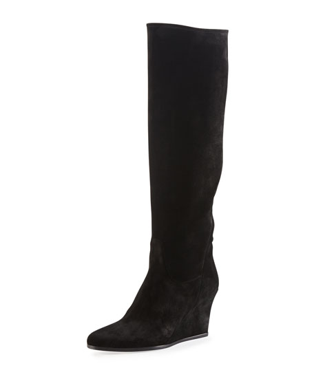 Lanvin Suede Wedge Knee Boot, Black