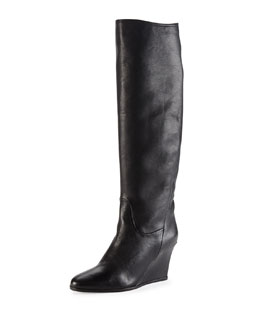 Lanvin Leather Wedge Knee Boot, Black