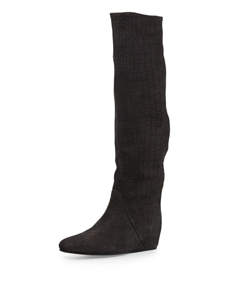 Lanvin Croc-Embossed Knee-High Wedge Boot, Gray