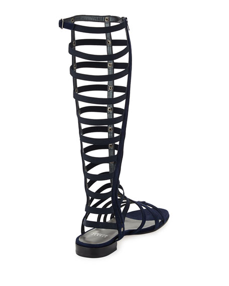 Gladiator Tall Suede Sandal, Nice Blue