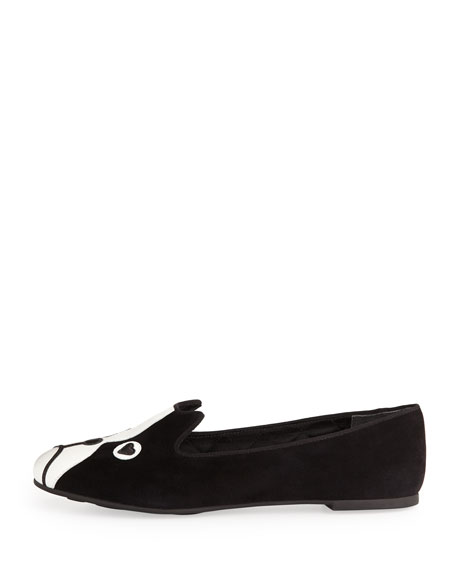 Shorty Suede Dog-Face Smoking Slipper, Black
