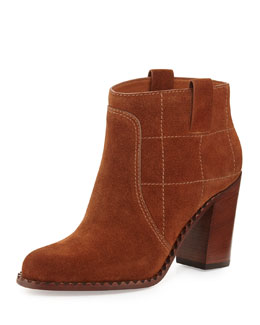 Marc Jacobs Checked Suede Ankle Bootie, Spice Cake