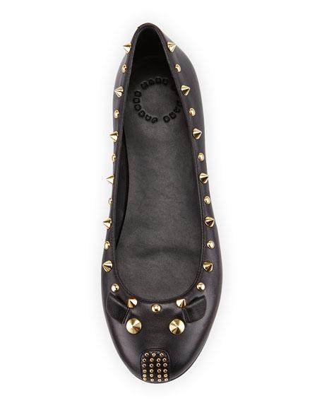Studded Mouse Ballerina Flat, Black