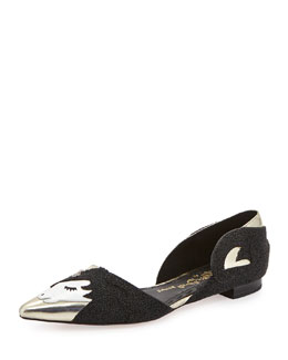 Alice + Olivia Lilith Unicorn d'Orsay Flat, Black/Gold