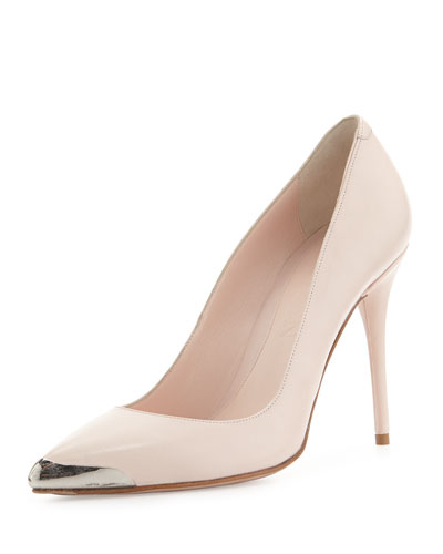 Pointed Metal-Toe Leather Pump, Powder