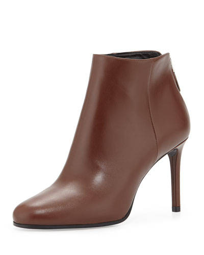 Prada Leather Ankle Bootie, Brown