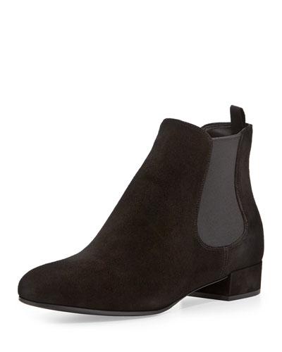 Prada Suede Flat Chelsea Boot, Black