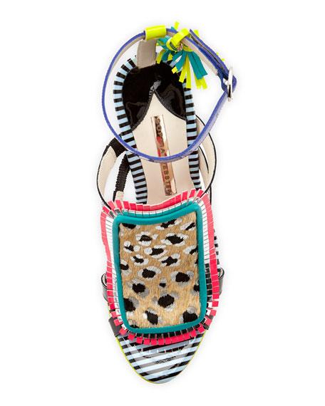 Sophia Webster Marissa Calf Hair Fringe Sandal, Tropical Leopard