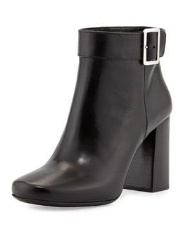 Prada Vitello Chunky Heel Bootie, Black (Nero)