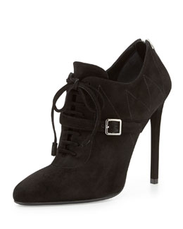 Prada Topstitched Suede Lace-Up Bootie