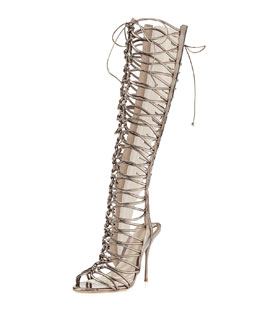 Sophia Webster Clementine Strappy To-the-Knee Gladiator Sandal Boot, Gunmetal