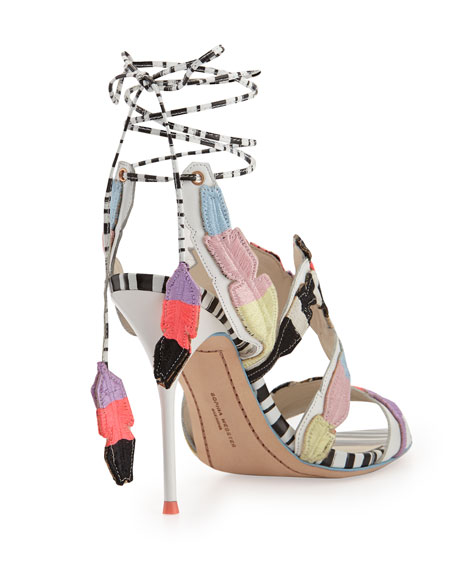 Carrie Feather-Embroidered Sandal