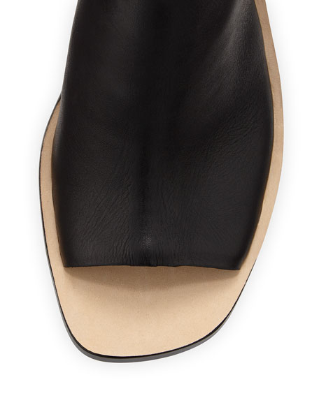 Maisy Colorblock Leather Sandal, Black/Saddle