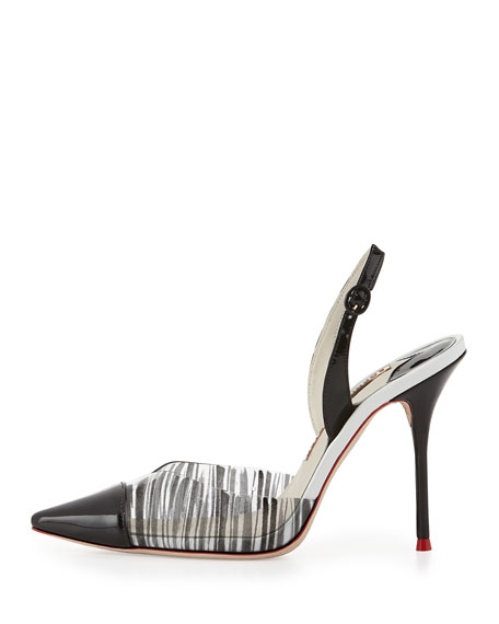 Daria Striped Slingback Pump, White/Black