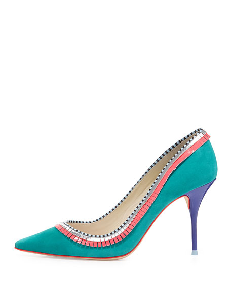 Lola Suede Fringe Pump, Tropical Green
